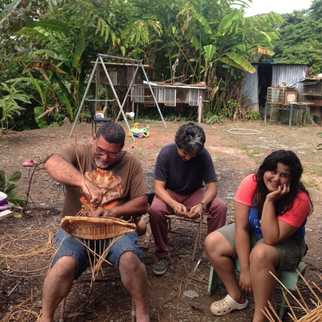 Students at work during a workshop with Edwin Marcucci. Photo taken at his home in Adjuntas, PR