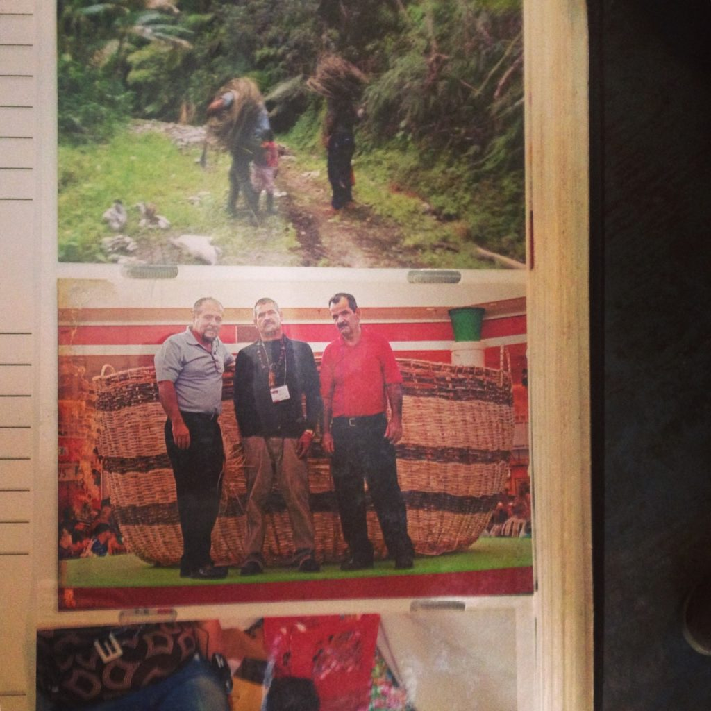 World's largest basket, made by three of Puerto Rico's top master 'cesteros': Isaac Laboy, Edwin Marcucci, Avelino. Photo taken at Edwin Marcucci's home in Adjuntas, PR